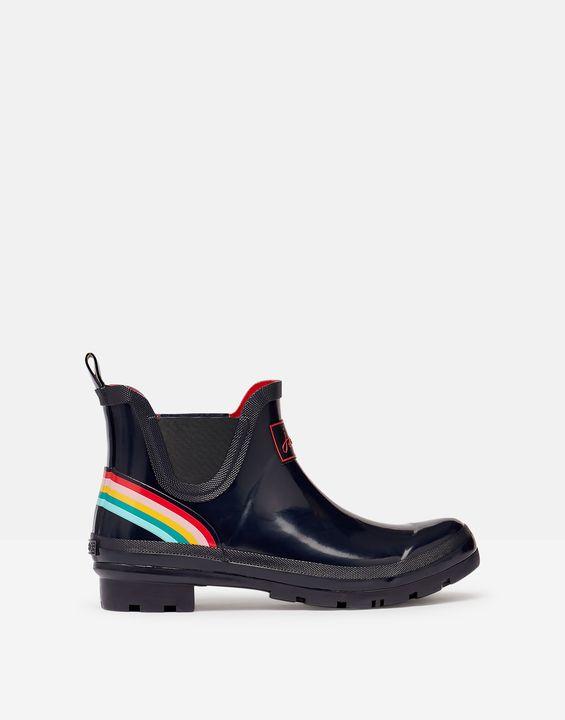 Joules Womens Short Height Printed Rain Boots - Navy Rainbow