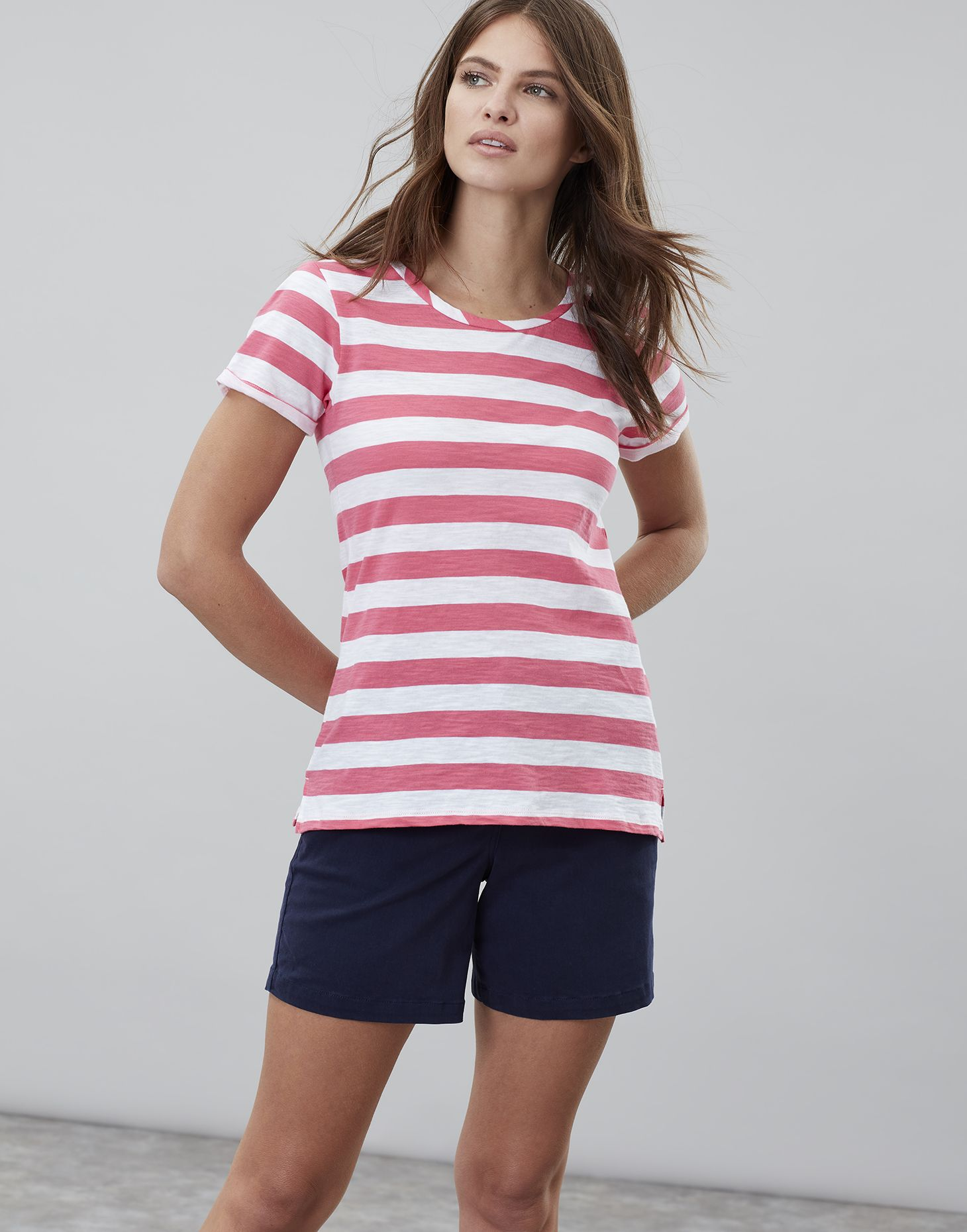 006a43df Joules Womens Nessa Stripe Lightweight Jersey T shirt in PINK WHITE STRIPE