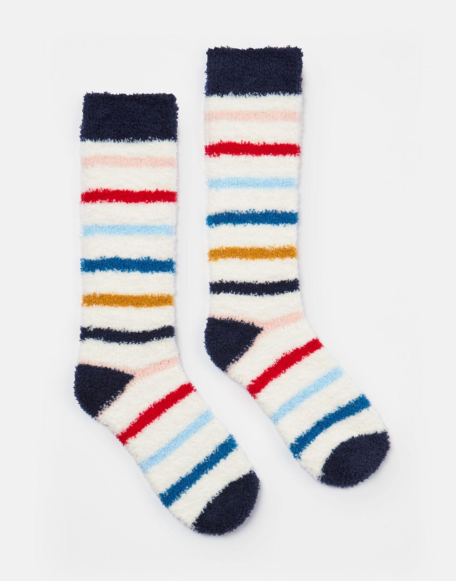 Joules Fabulously Fluffy Kids Underwear Socks Creme Stripe All Sizes