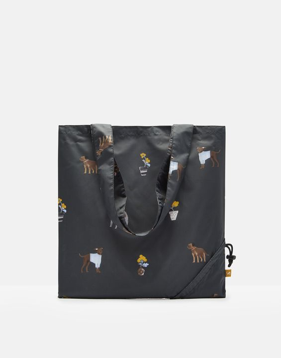 Joules US Pacabag Womens Pacaway Bag BLACK DOGS
