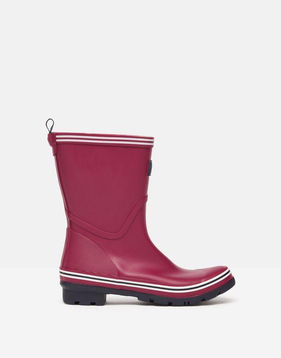 Joules Womens Coastal Mid Height Rain Boots - Berry Blush