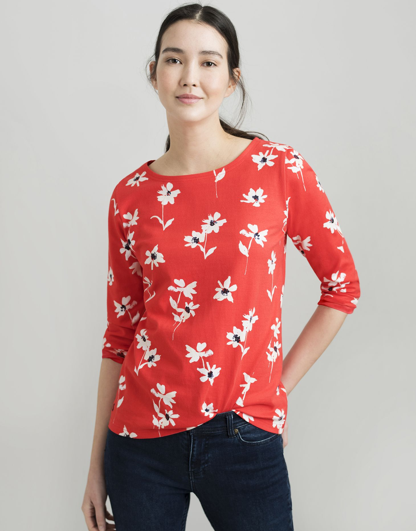 55734dfb3 Harbour RED DAISY Printed Jersey Top | Joules UK
