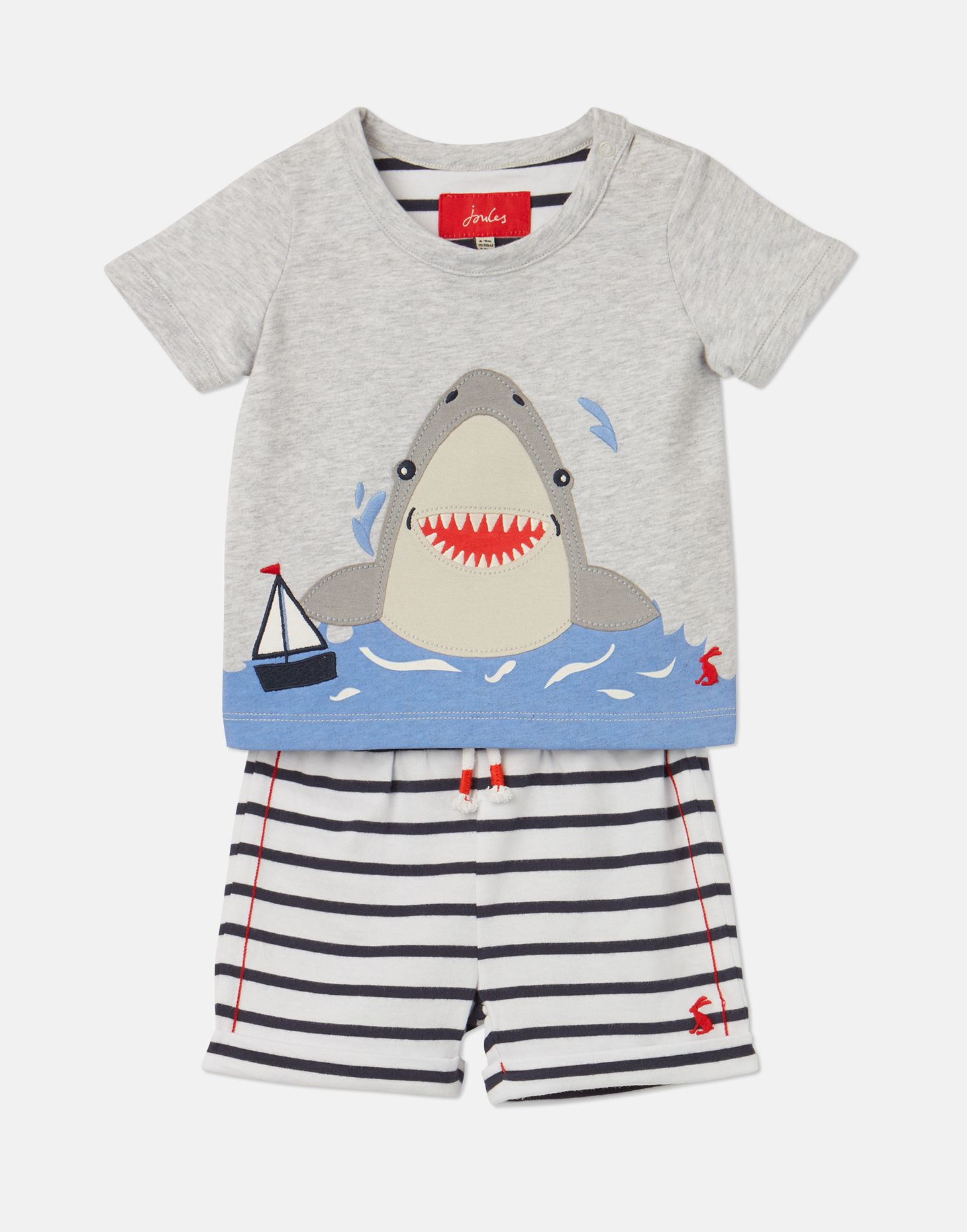 Joules Baby Boys Wave Applique Top And Shorts Set NAVY STRIPE SHARK