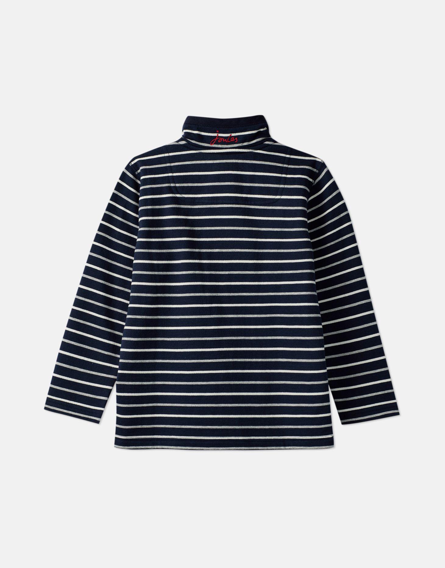 Grey Marl Stripe Ages 5-10 years Joules Boys Dale half zip Sweatshirt