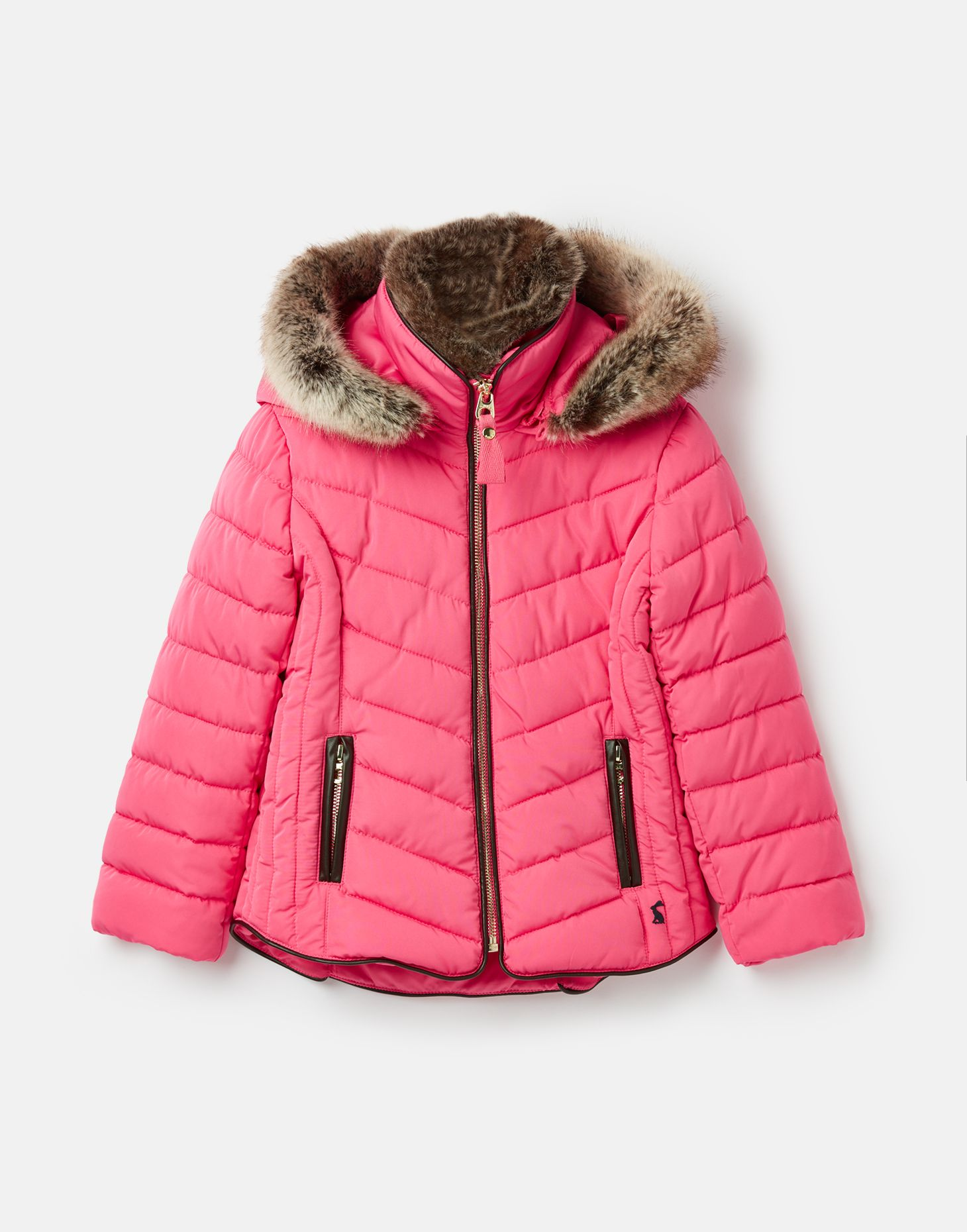 Joules Girls Gosling Quilted Coat 3 12 Years in MARINE NAVY