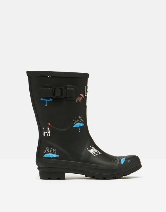 Joules Womens Molly Mid Height Printed Rain Boots - Black Cat Dog