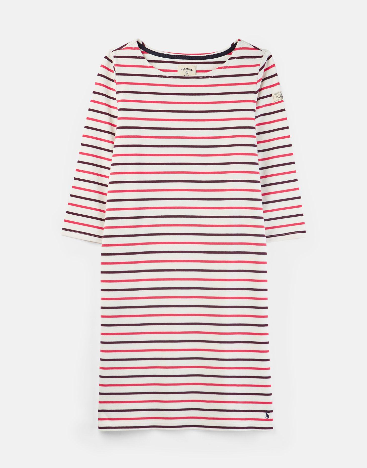JOULES Riviera T-Shirt Dress Pink Stripe Sz 10 16 18 20 FreeUK P/&P