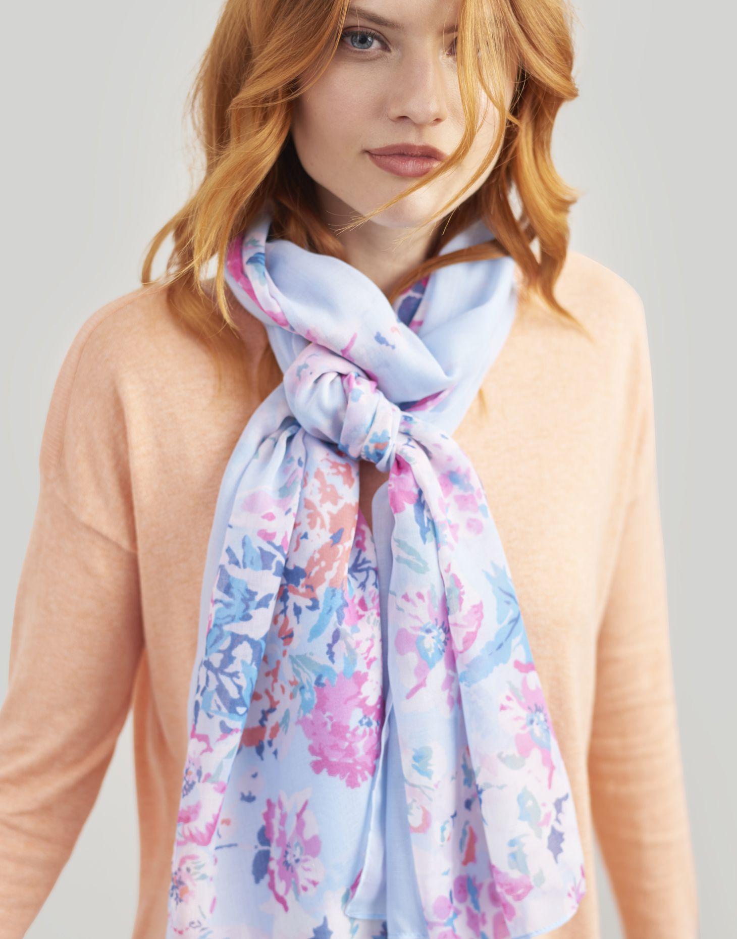 JoulesWensley Printed Ladies ScarfBlack All Over FloralFree P/&P