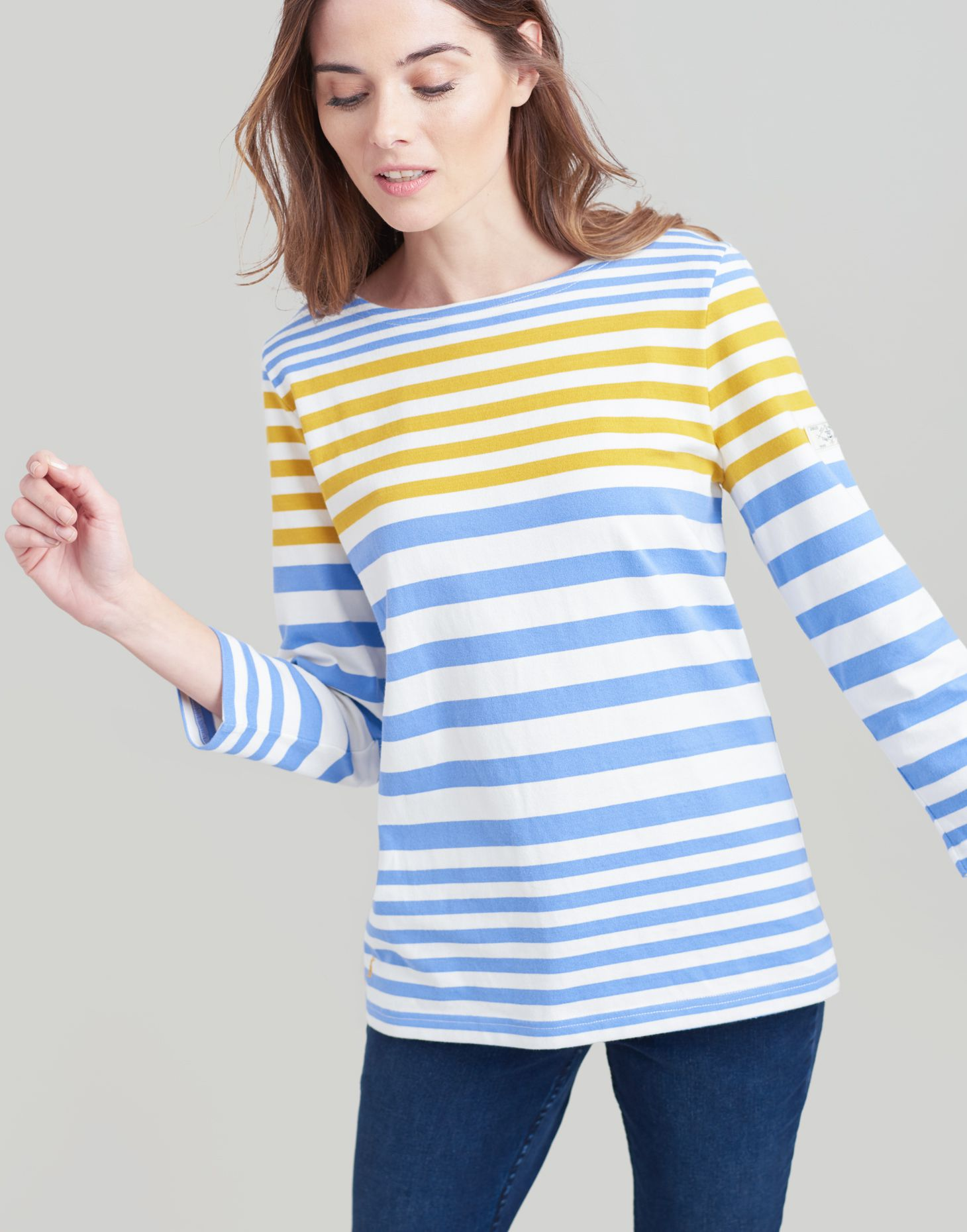 95bc60741 Harbour BLUE GOLD STRIPE Jersey Top   Joules UK
