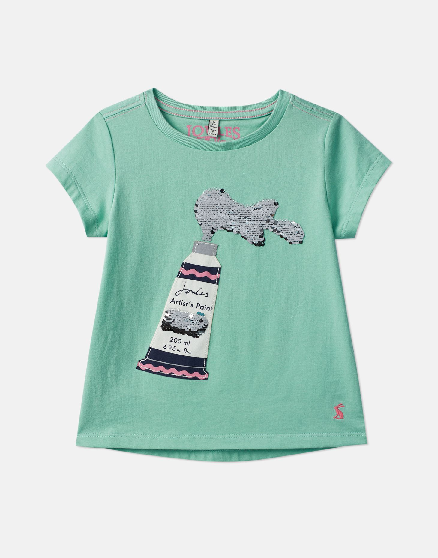 Joules Girls Astra Applique T Shirt 3 12 Years in GREEN PAINT TUBE