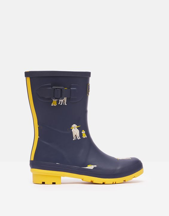 Joules Womens Molly Mid Height Printed Rain Boots - Rain Dogs