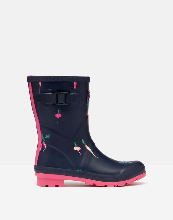 Joules Womens Molly Mid Height Printed Rain Boots - Navy Vegatables
