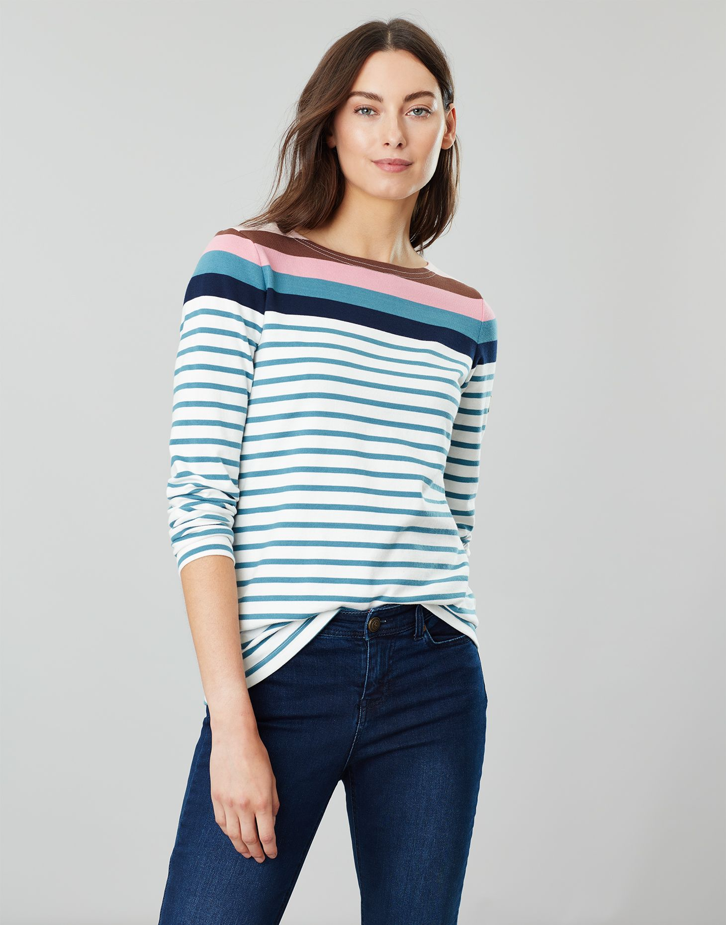 Cream Blue Stripe Joules Harbour Jersey Top