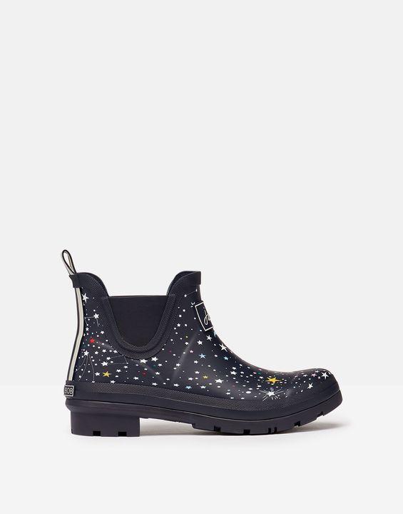 Joules Womens Short Height Printed Rain Boots - Navy Stars