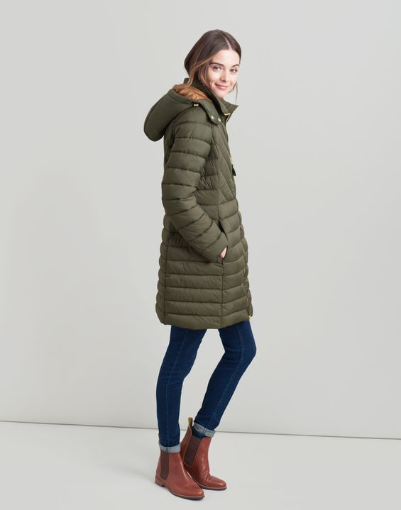 Joules UK ELODIE LONG Womens Lightweight Padded Jacket HERITAGE GREEN