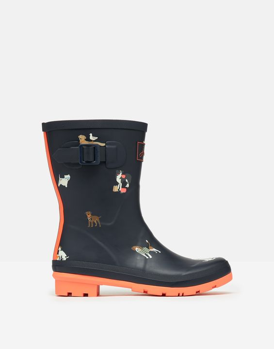 Joules Womens Molly Mid Height Printed Rain Boots - Navy Beach Dogs