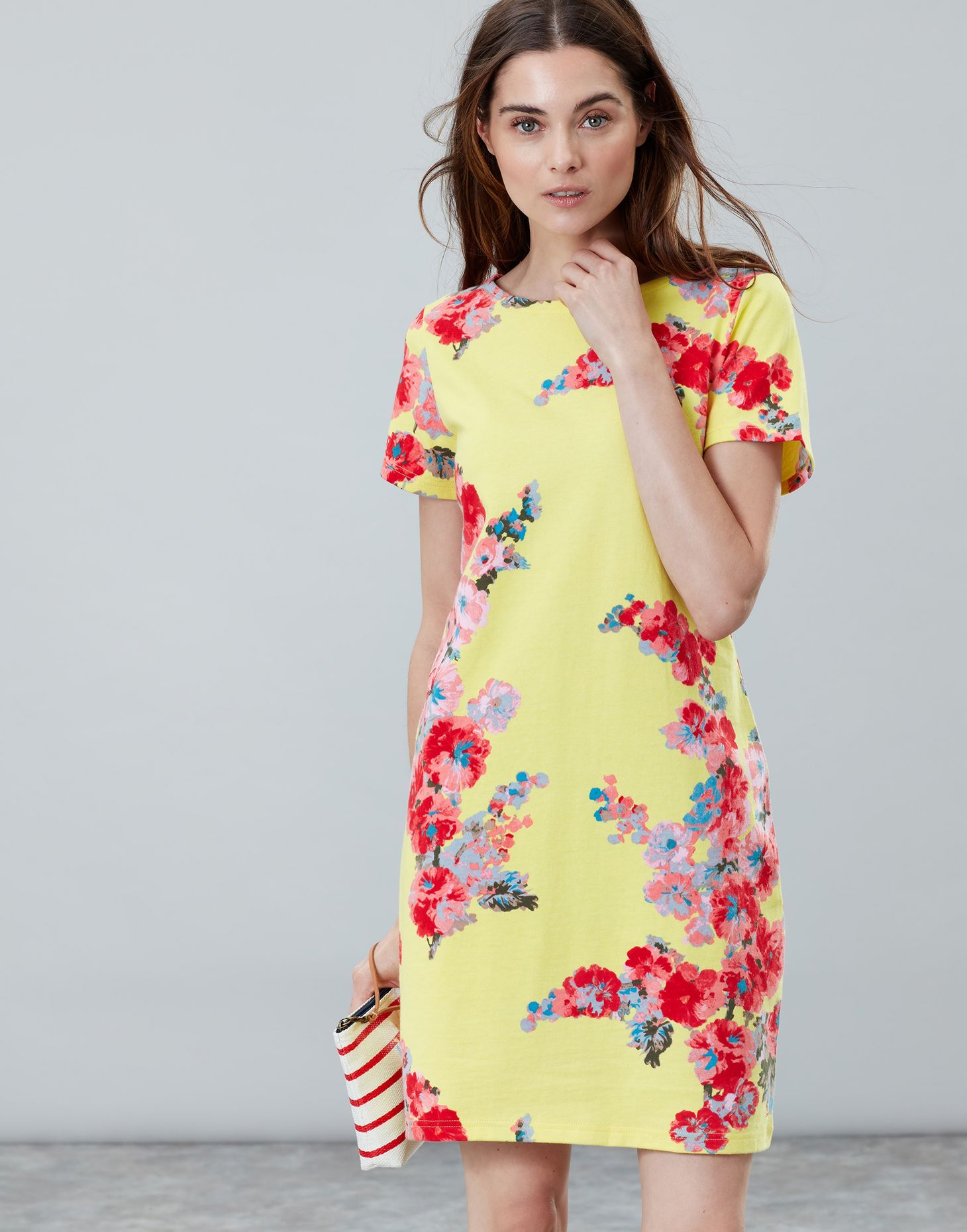 e05c343c41 Hover to zoom. Joules UK Riviera Print Womens Dress With Short Sleeves  LEMON FLORAL