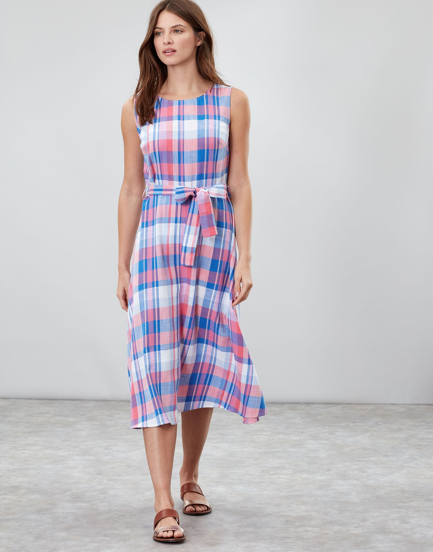 d2181309f Fiona PINK CHECK Sleeveless Woven Dress With Tie Detail | Joules UK