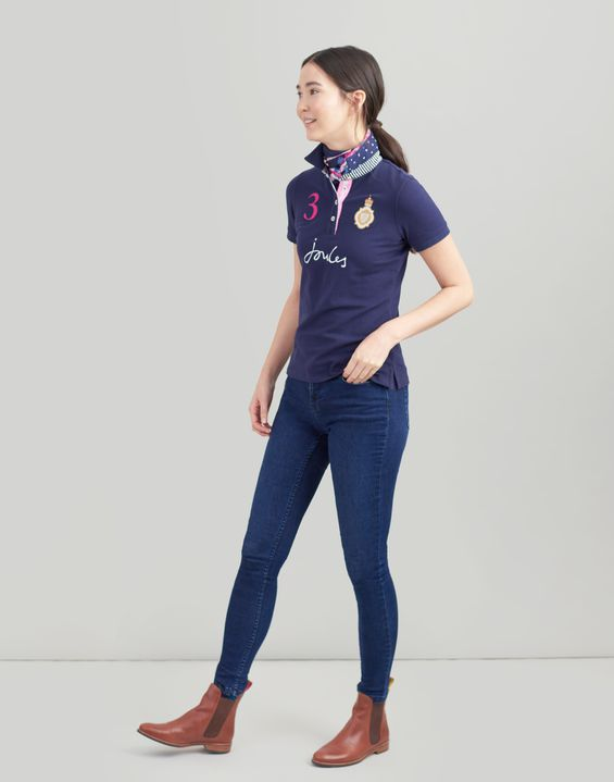 Joules US Beaucroft Womens Polo Shirt FRENCH NAVY