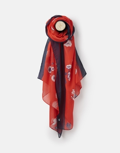 Joules US Wensley Womens Printed scarf RED FLORAL