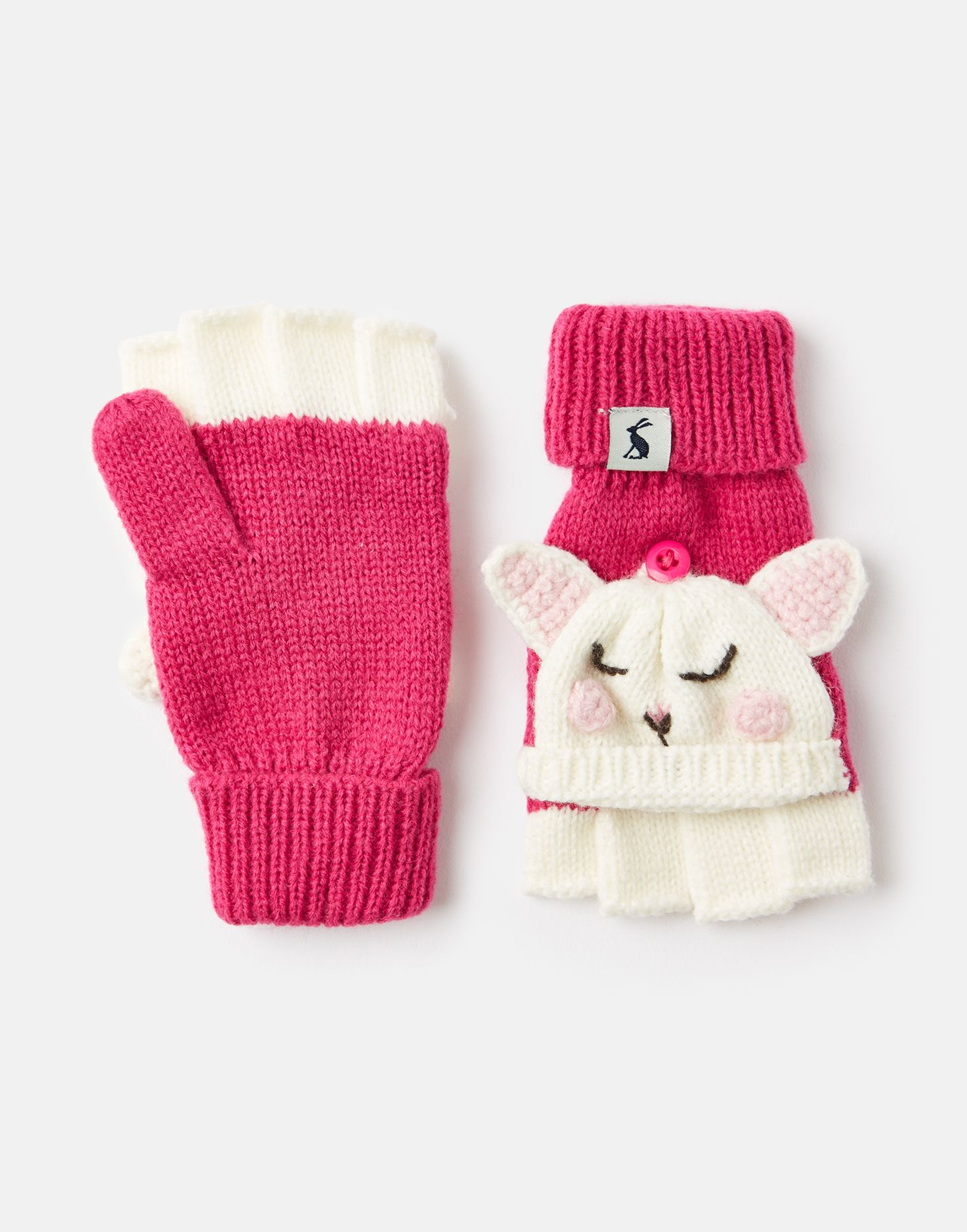 Joules Baby Chummy Character Mittens in PINK DOG