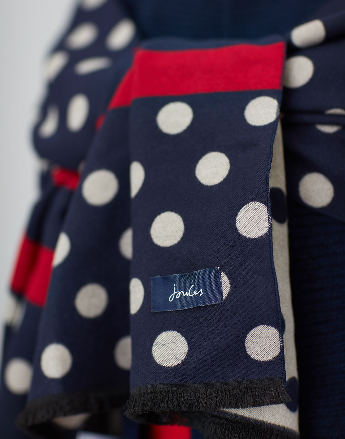 Joules Womens Jacquelyn Jacquard Scarf in FRENCH NAVY SPOT in One Size 2