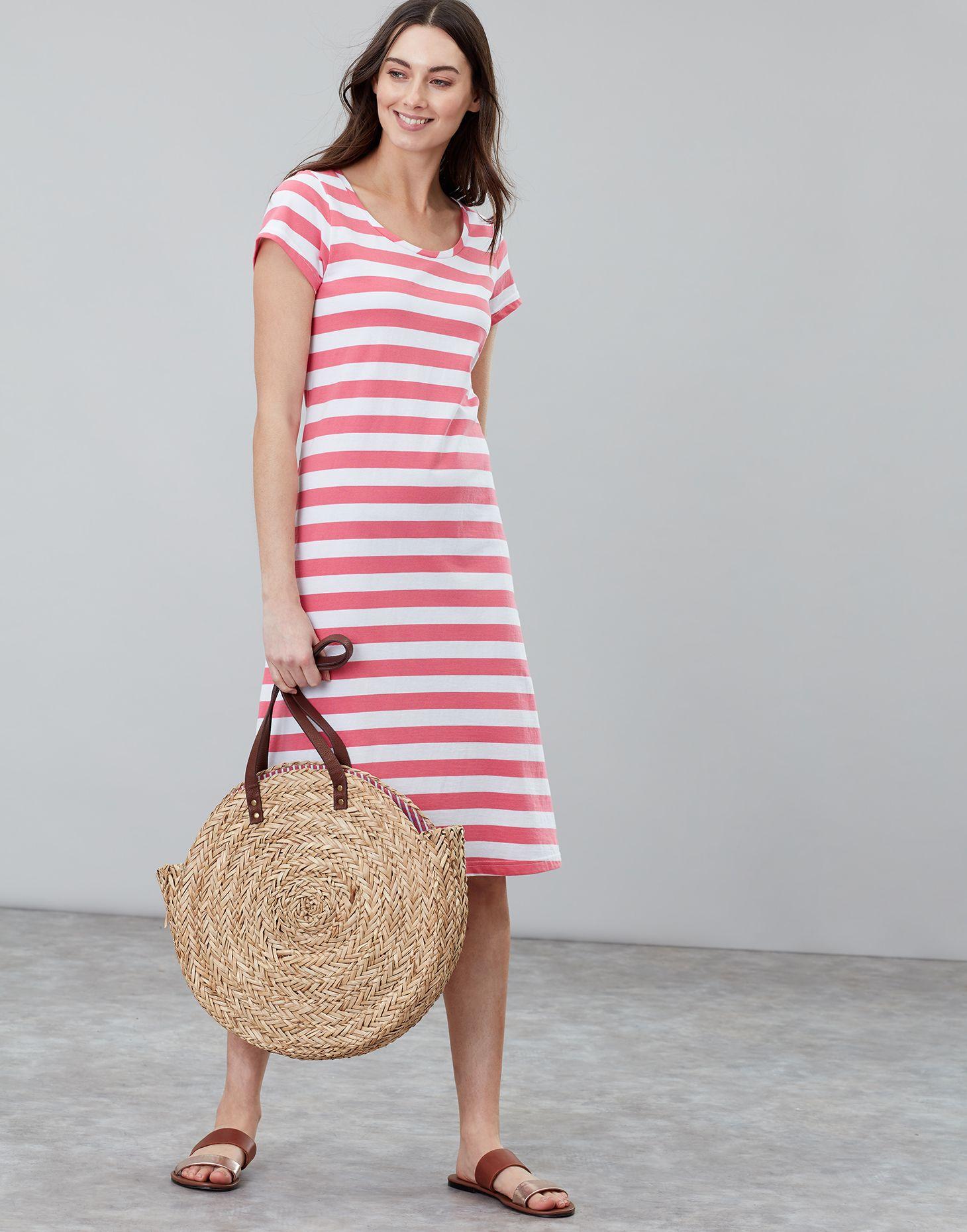 7b6e78c23f2 Rayma PINK WHITE STRIPE Short Sleeve Swing Dress