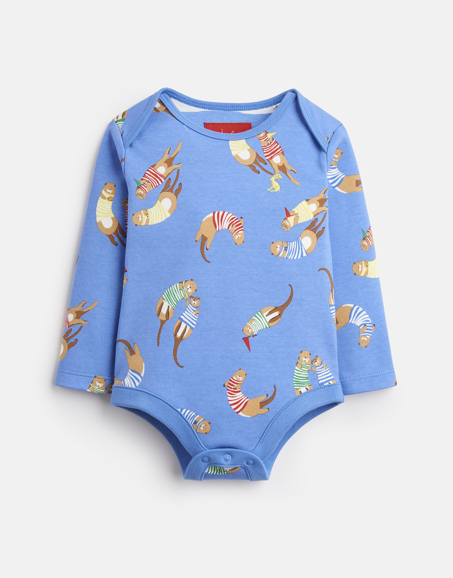 Joules Baby Snazzy Jersey Printed Bodysuit in SKY BLUE FLYING BEARS