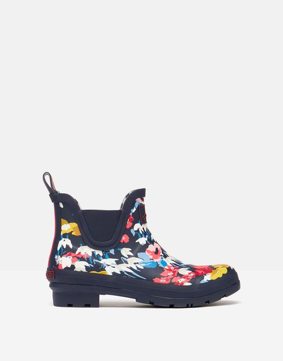 Joules Womens Short Height Printed Rain Boots - Navy Florals