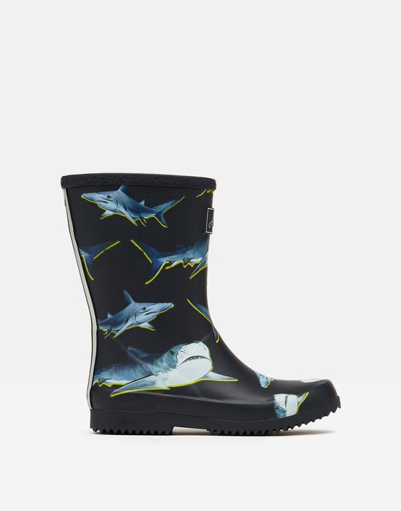 Joules Boys Roll Up Rain Boots - Navy Blue Lime Shark