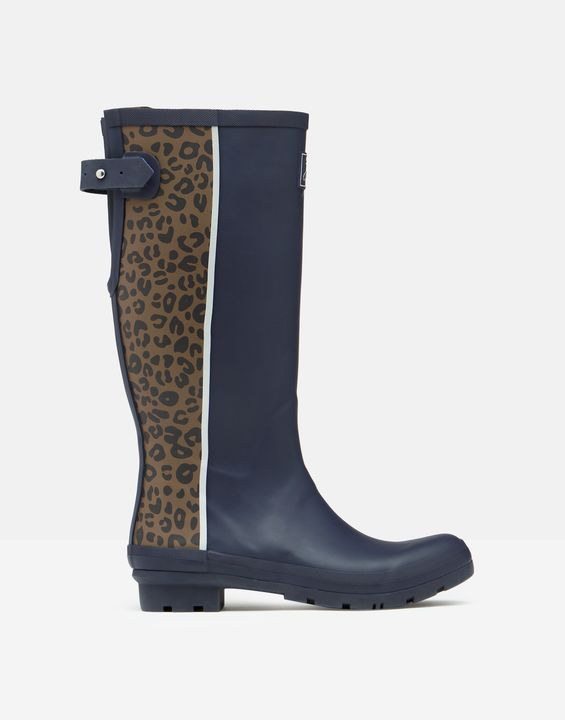 Joules Womens Printed Rain Boots With Adjustable Back Gusset - Brown Leopard