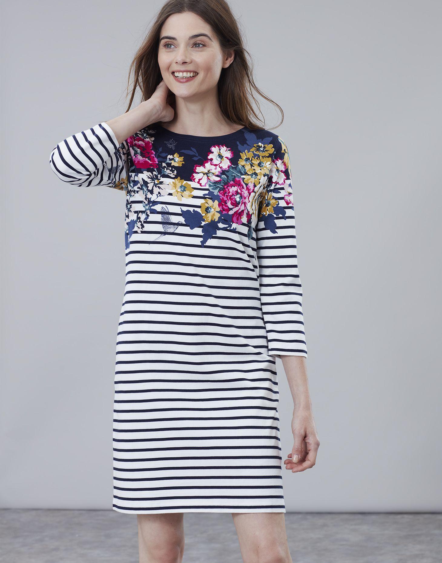 c102f352008 Riviera print ANNIVERSARY BORDER FLORAL 3/4 Sleeve Jersey Dress ...