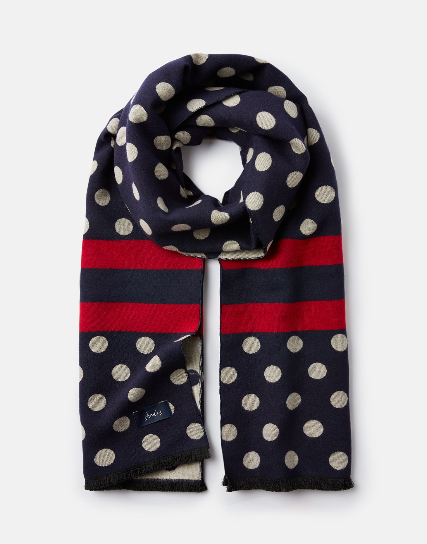 Joules Womens Jacquelyn Jacquard Scarf in FRENCH NAVY SPOT in One Size