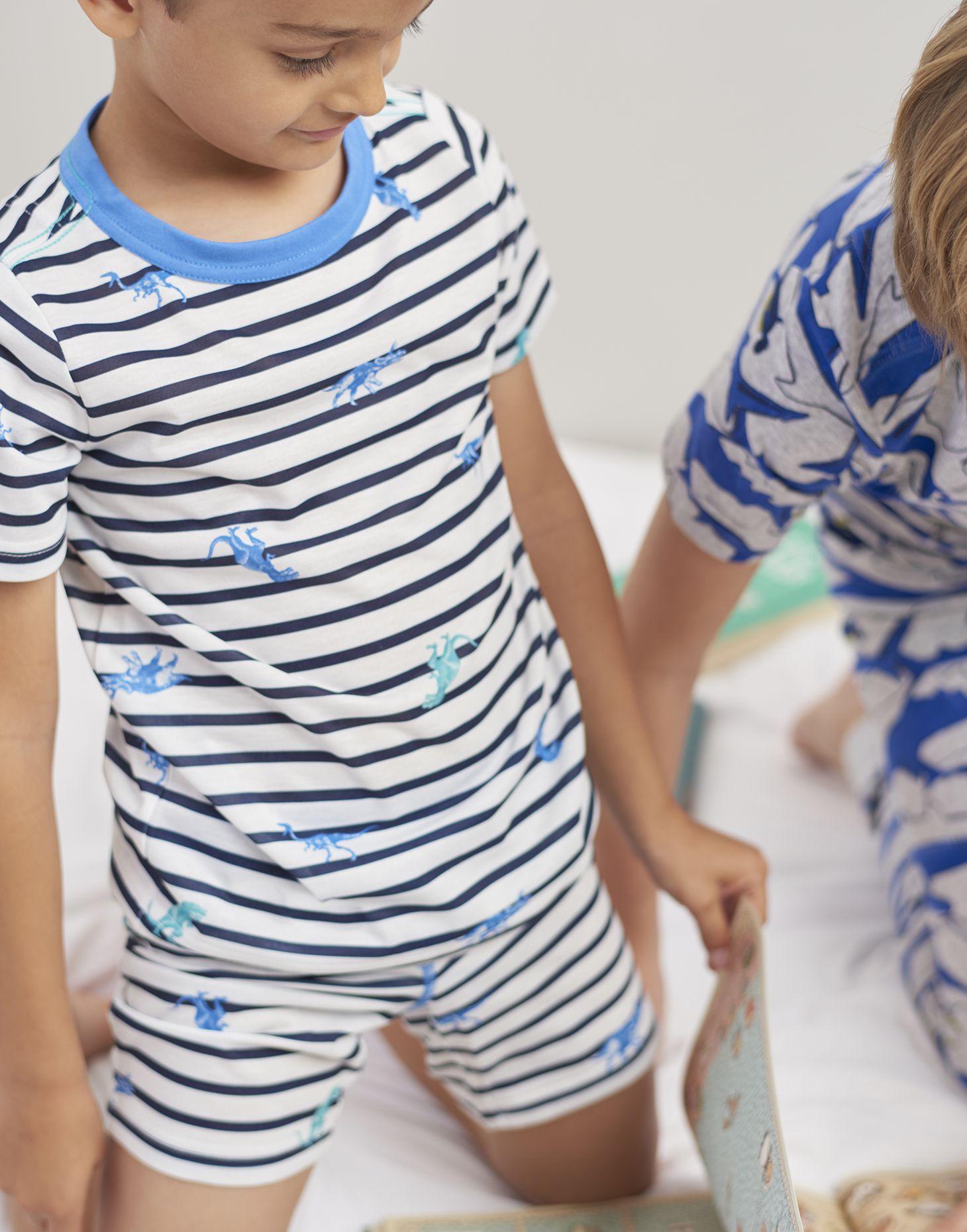 5aa5d6823 Arnie NAVY SKELETON DINO STRIPES Short Pajama Set 1-12 Yr | Joules US