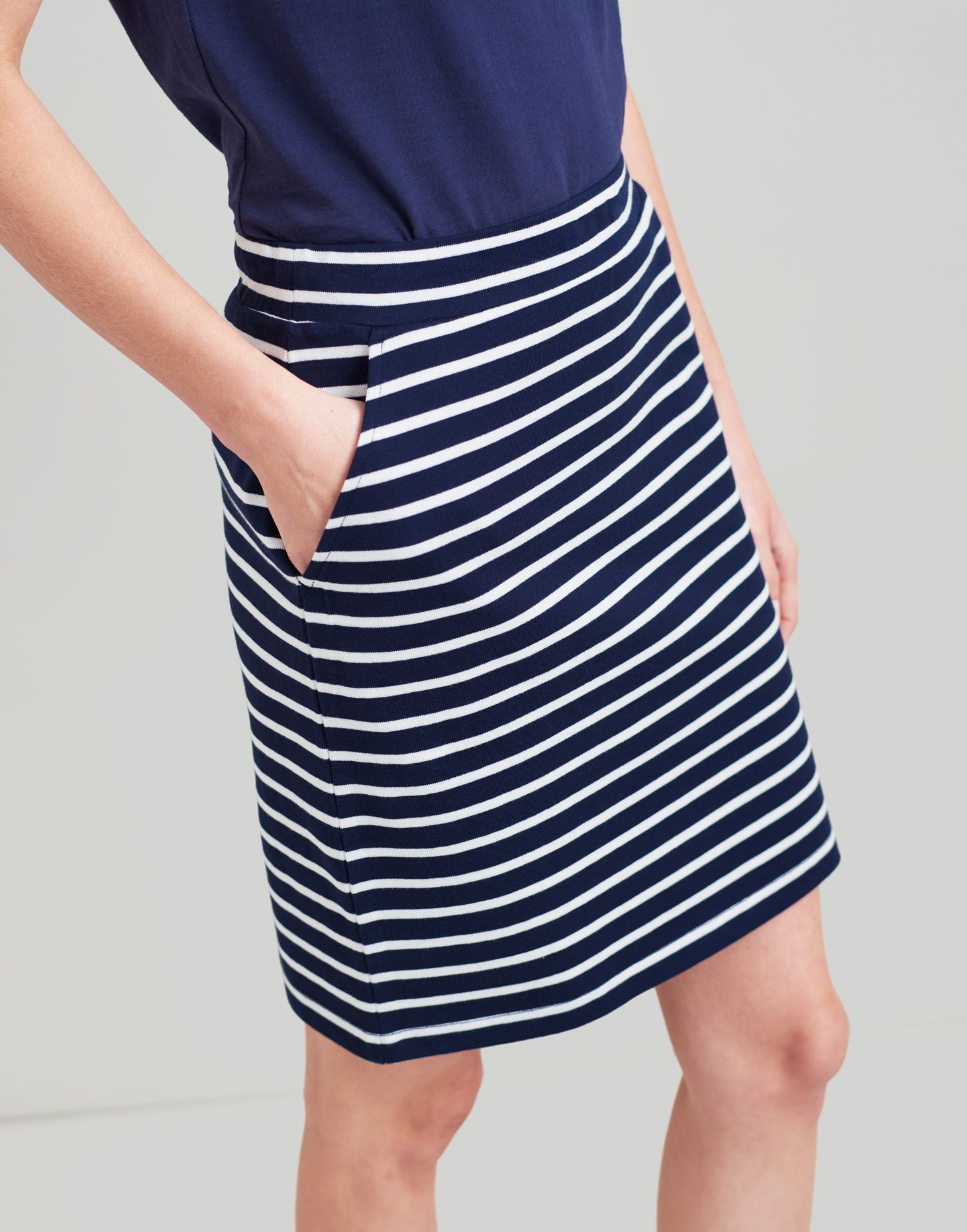 ec6d34c48b Portia NAVY CREAM STRIPE Jersey Skirt | Joules UK