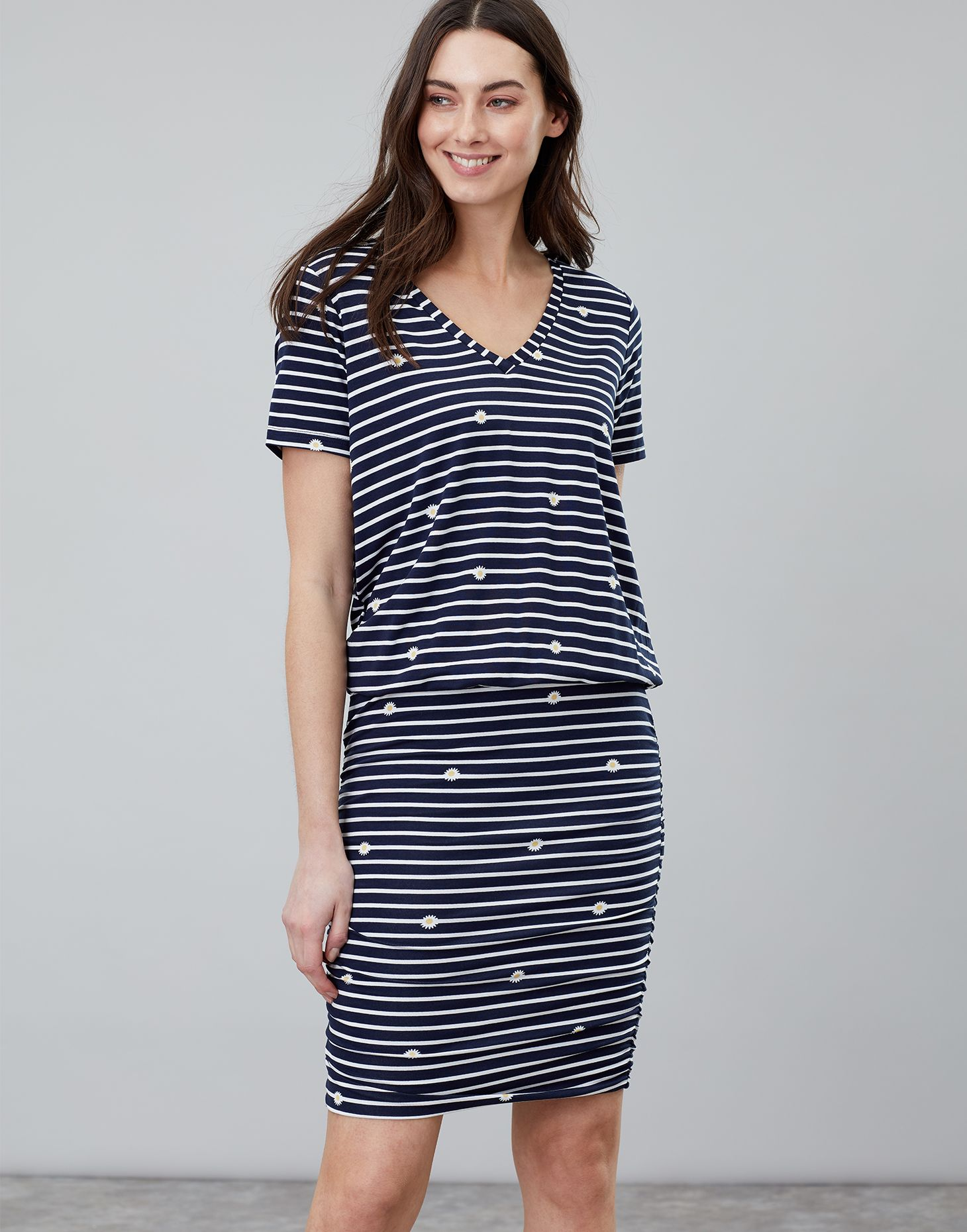 fb554b9819 Candice NAVY DAISY V Neck Jersey Dress With Gathered Skirt | Joules UK