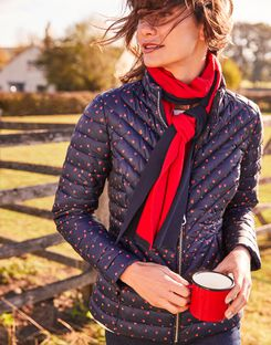 Joules UK Elodie Print Womens Chevron Quilted Jacket NAVY HEARTS
