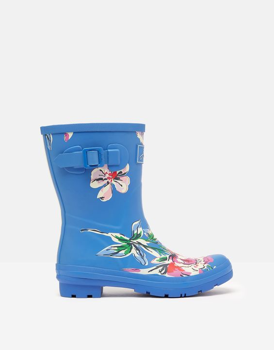 Joules Womens Molly Mid Height Printed Rain Boots - Blue Multi Florals