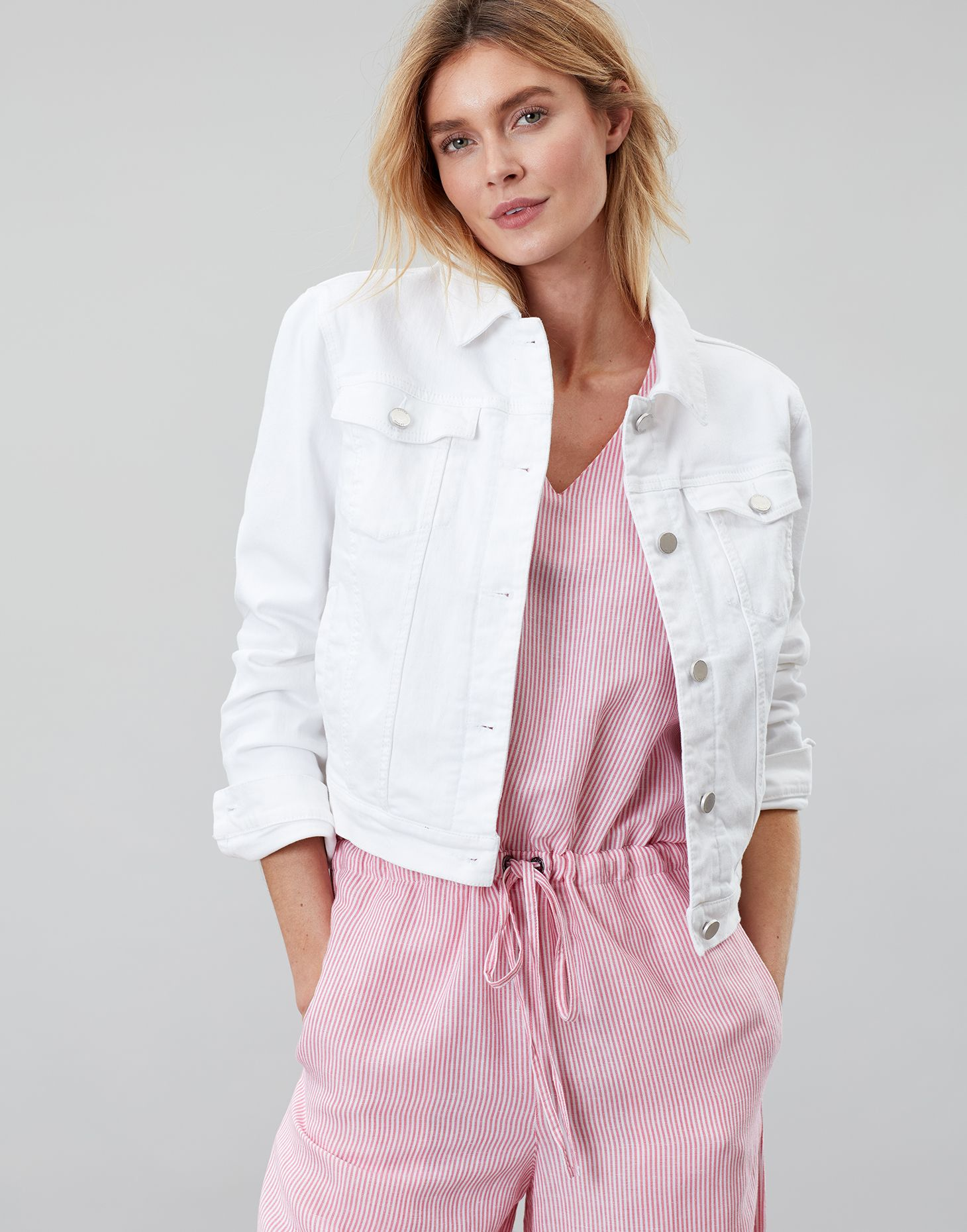 b8a4959df27d Elsa BRIGHT WHITE Denim Jacket | Joules UK