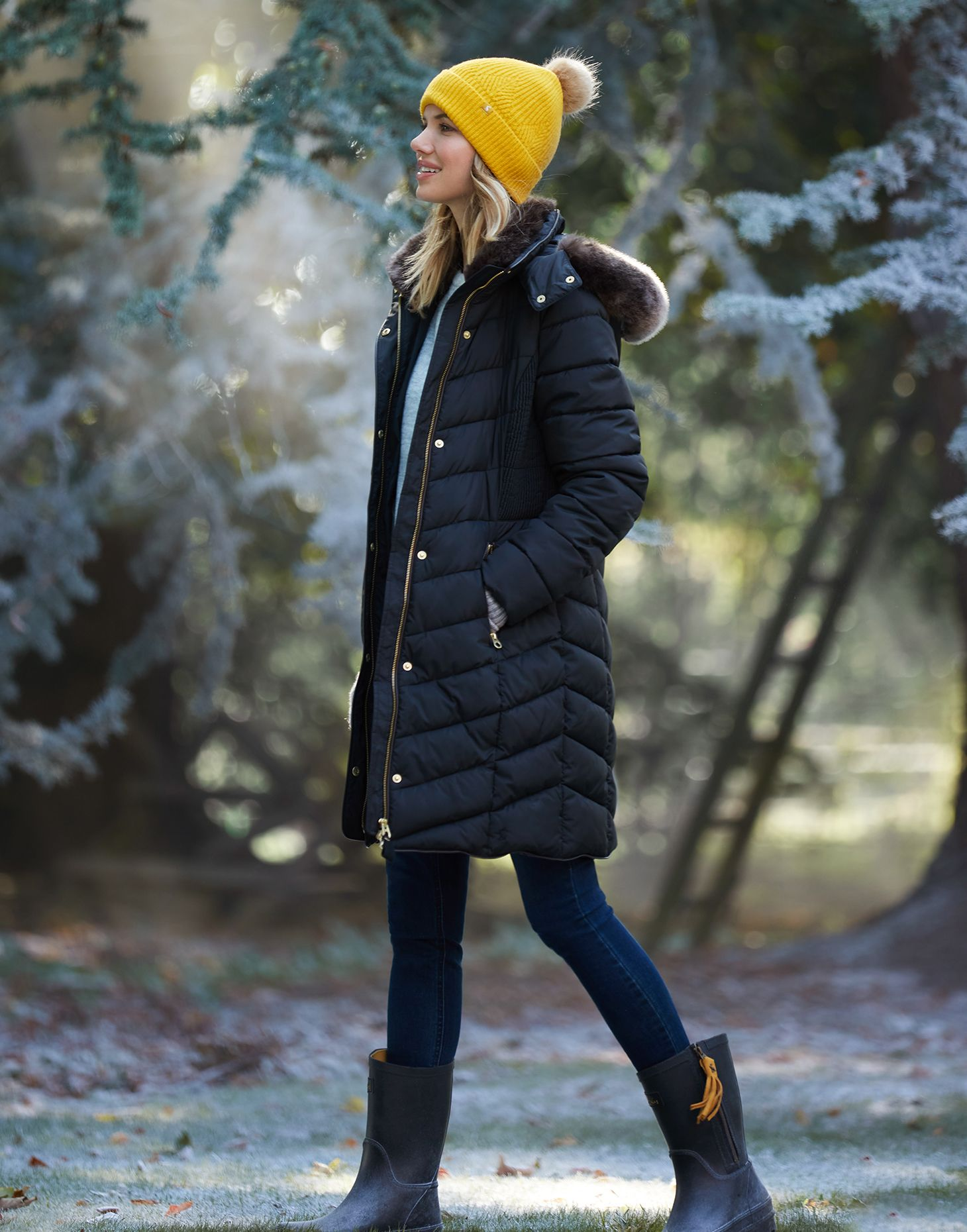 Women Quilted Faux Fur Trim Hooded Zip-Off Padded Puffer Longline Winter Jacket