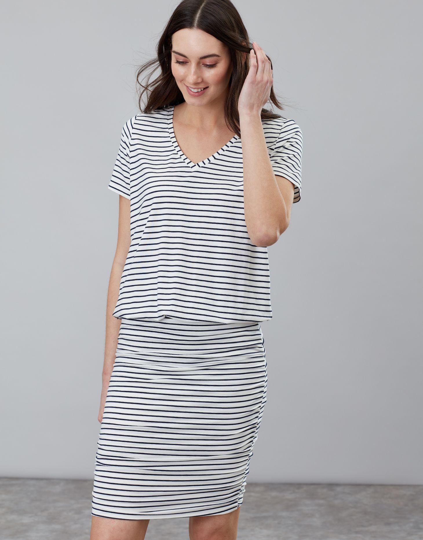 36514559c5 Candice NAVY CREAM STRIPE V Neck Jersey Dress With Gathered Skirt ...