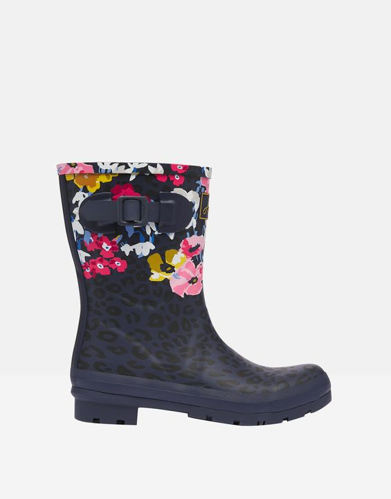 Joules Womens Molly Mid Height Printed Rain Boots - Navy Leopard Floral
