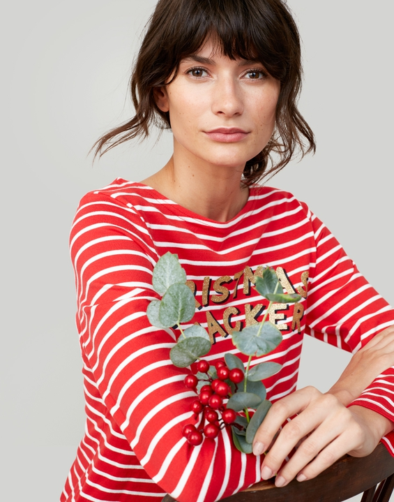 Joules UK HARBOUR PRINTED Womens Jersey Top RED CREAM CHRISTMAS CRACKER