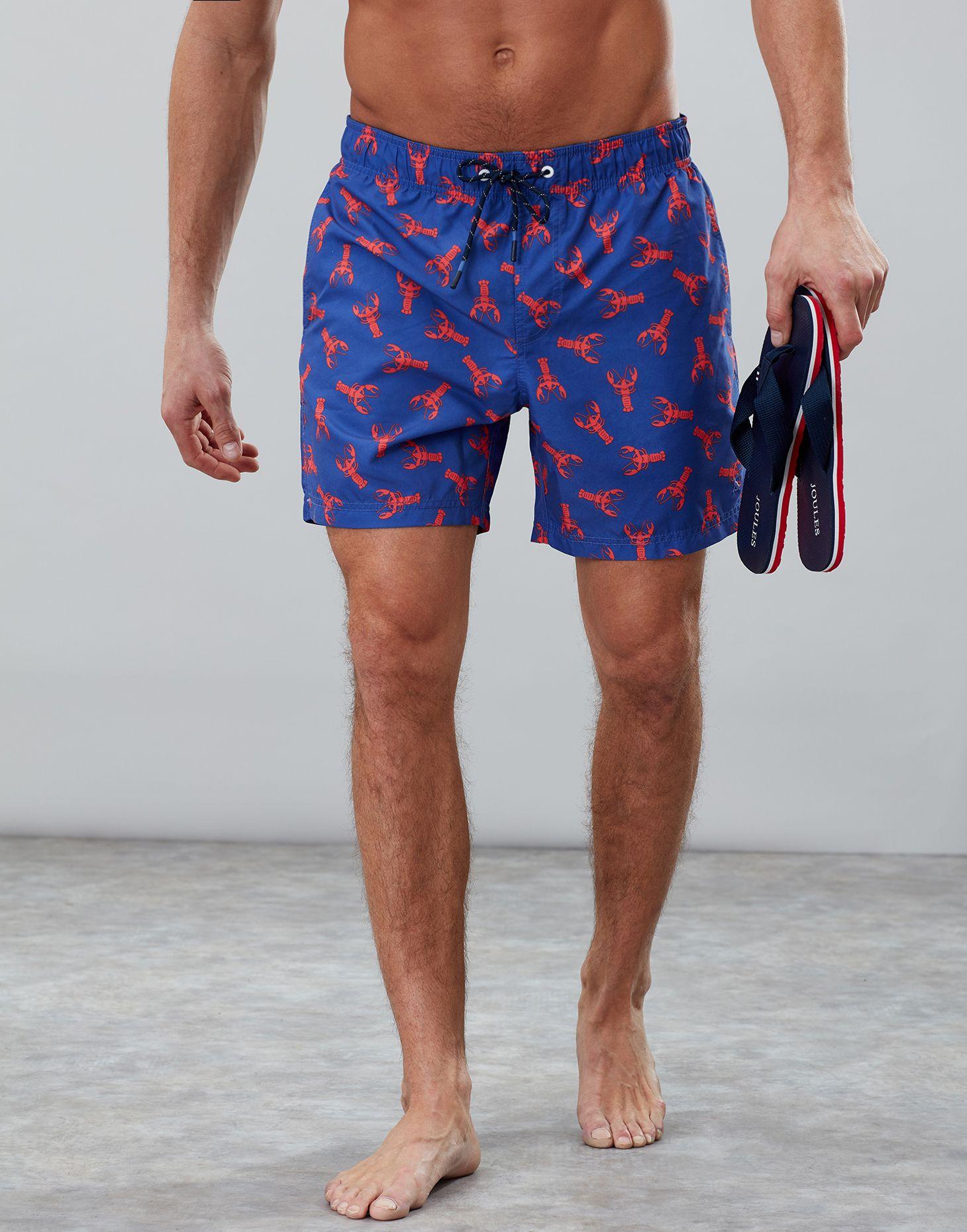 d7ed65b091 Heston DARK BLUE LOBSTER Swim Shorts | Joules UK