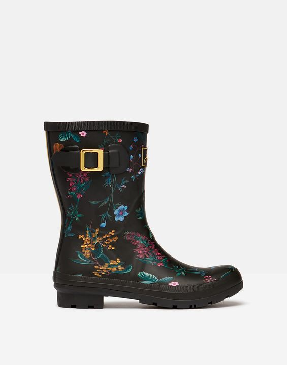 Joules Womens Molly Mid Height Printed Rain Boots - Black Botanical