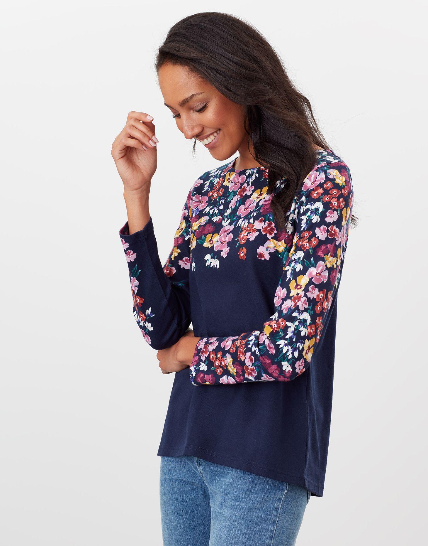 Joules Ladies Harbour Print Cotton Long Sleeve Jersey Top Navy Stripe Floral