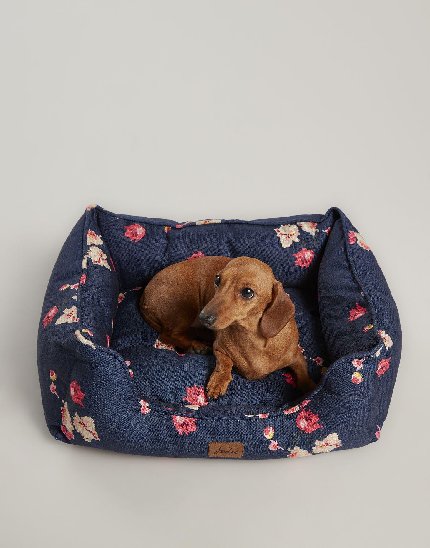 Floral Percher Square Navy Floral Pet Bed Joules Uk