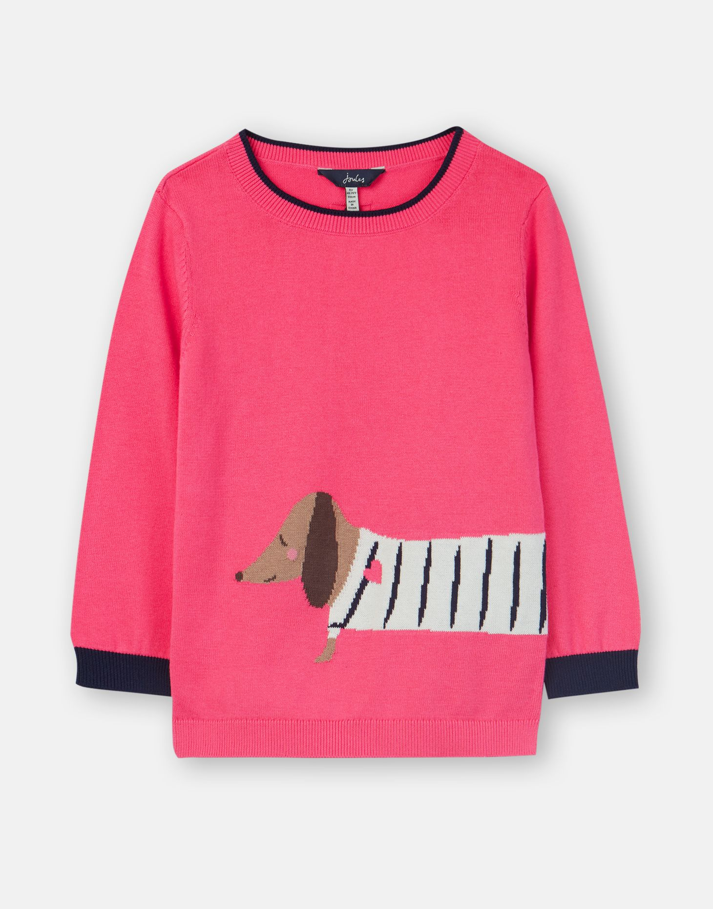 5 6 year Joules Girls Pink Knitted Jumper with Sausage Dauschand Dog Age 4