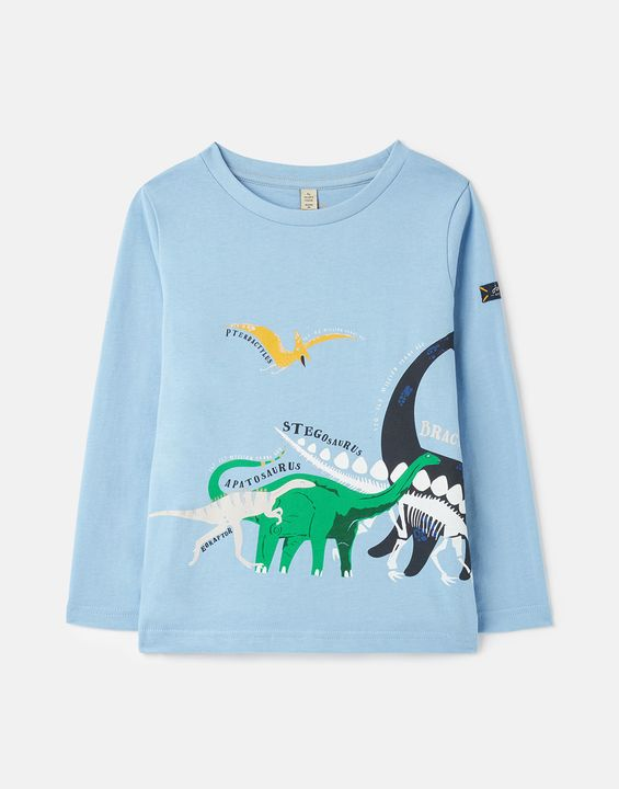 Joules Boys Finlay Screenprint Long Sleeve T-Shirt 1-12 Years - Blue Dinos