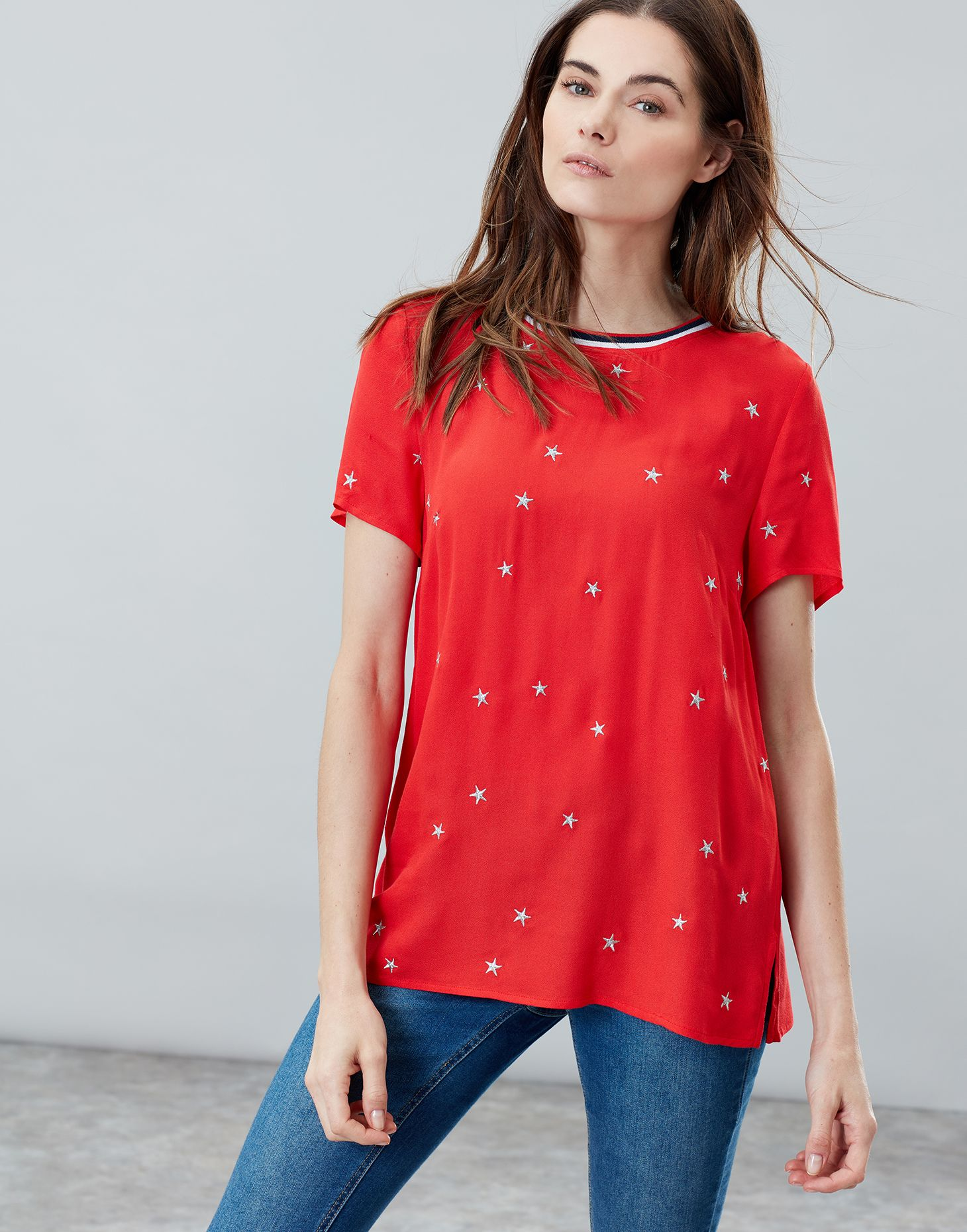 2289e8403cb77 Eliza RED STAR Embroidered Woven T Shirt With Rainbow Trim Detail ...